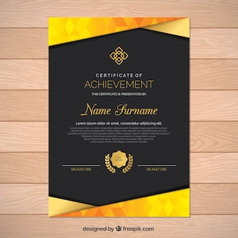 Diploma with golden shapes