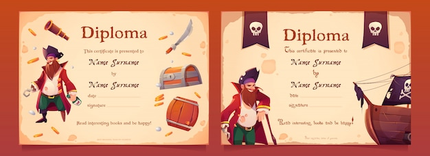 子供のための海賊をテーマにした卒業証書