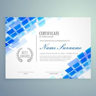Современный шаблон сертификата с синими формами и мозаикой