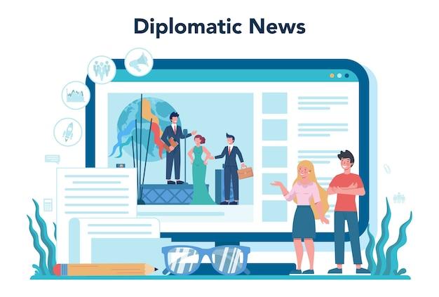 外交官のオンラインサービスまたはプラットフォーム。国際関係と政府のアイデア。