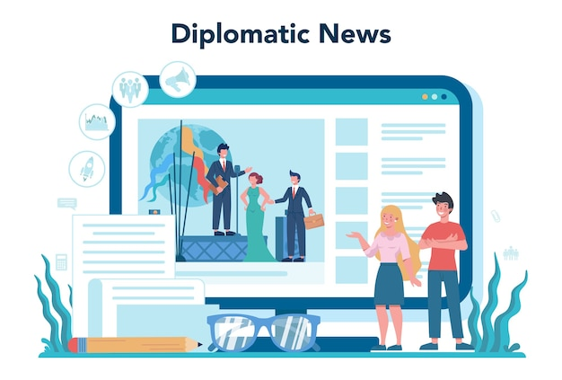 Diplomat online service or platform. idea of international relations and government.