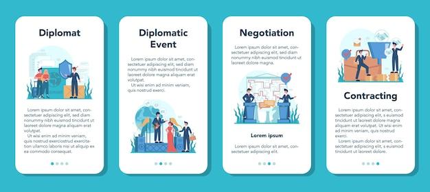 Набор баннеров для мобильного приложения профессия дипломата