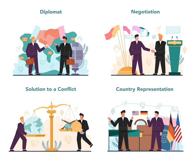 Diplomat profession set. idea of international relations and government.