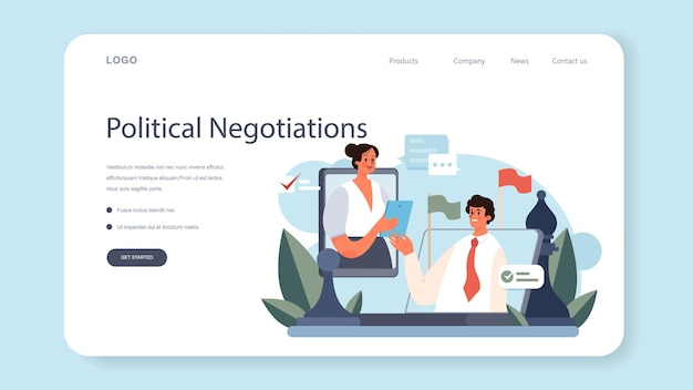 Diplomat profession web banner or landing page. flat vector illustration