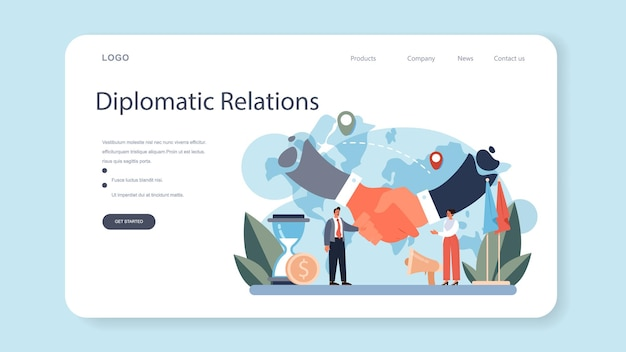 Diplomat profession web banner or landing page. idea of international relations and government. country worldwide representation. negotiation process, diplomatic event. flat vector illustration