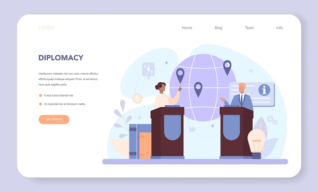 Diplomat web banner or landing page. idea of international relations