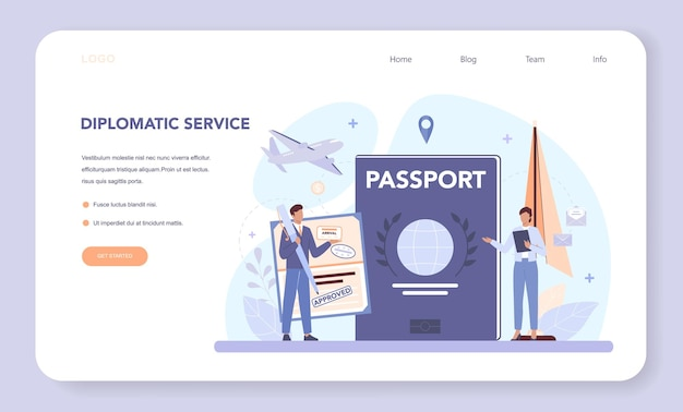 Diplomat web banner or landing page. isolated vector illustration