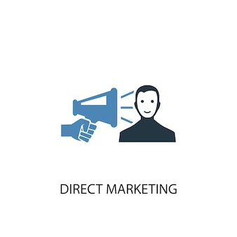 Direct marketing concept 2 colored icon. simple blue element illustration. direct marketing concept symbol design. can be used for web and mobile ui/ux