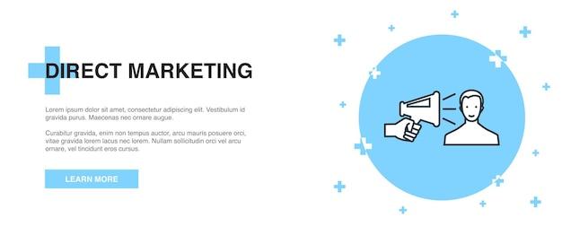 Direct marketing icon, banner outline template concept. direct marketing line illustration design