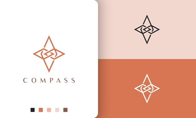 Direction or adventure logo vector design with simple and modern compass shape