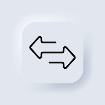 Direction arrows for transfer, sync, migration data. traffic bridge or exchange conept. transfer arrows icon. exchange sign. neumorphic ui ux white user interface web button. neumorphism. vector