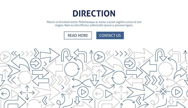 Direction banner design. vector illustration of outline concept.