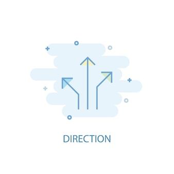 Direction line concept. simple line icon, colored illustration. direction symbol flat design. can be used for ui/ux