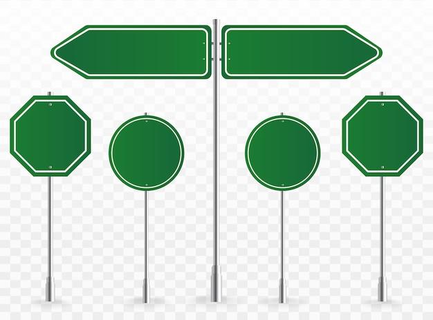 방향 사인 보드, 도로 목적지 표지판, 거리 간판 보드 및 녹색 지시 간판 포인터. 삽화