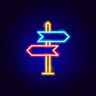 Direction sign neon sign. vector illustration of navigation promotion.