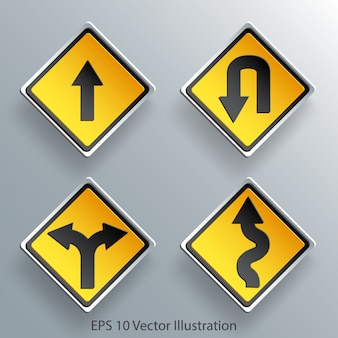 Direction traffic sign 3d paper