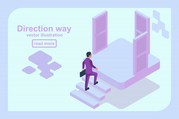 Direction way concept. choice of a businessman.