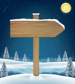 Direction wood board sign on christmas winter lake