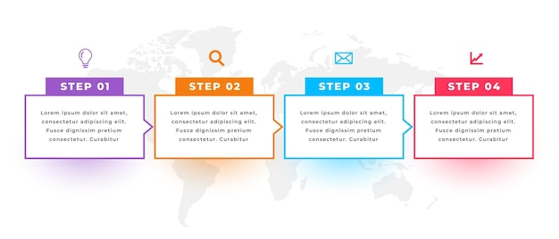 Directional infographic template with four steps
