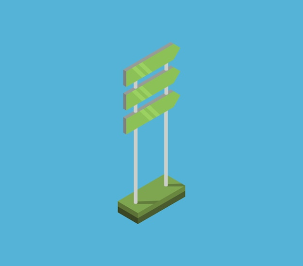 Directional sign isometric