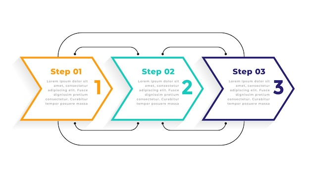 Directional  three steps modern infographic template