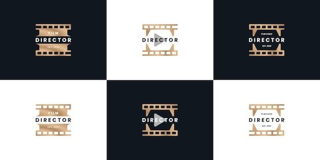 Director editing film logo design collection