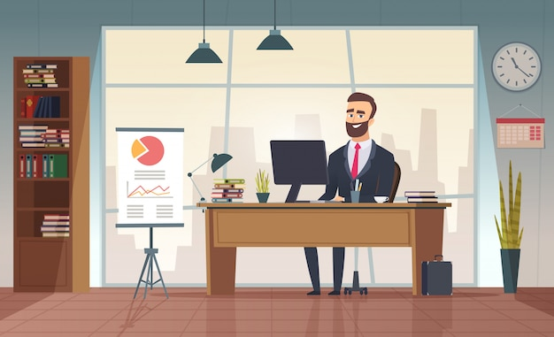 이사 사무실. 테이블 사무실 만화 그림에 앉아 인테리어 사업가 프리미엄 벡터