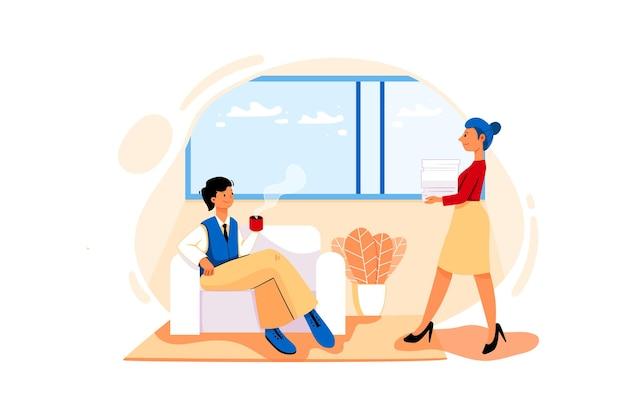 Концепция иллюстрации комнаты директора