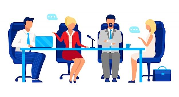 取締役会、株主総会イラスト。プロのビジネスマンやビジネスウーマンの漫画のキャラクター。ビジネス開発戦略について話し合う同僚、パートナー