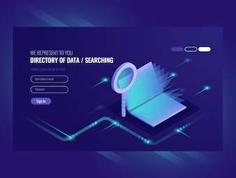 Directory of data, information serching result, book with magnifying glass