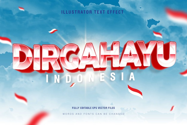 Dirgahayu indonesia text style effect with a bright blue sky background, dirgahayu means celebration, fully editable eps vector file