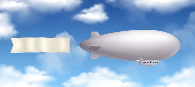 Dirigible airship realistic composition with banner and clouds in the sky