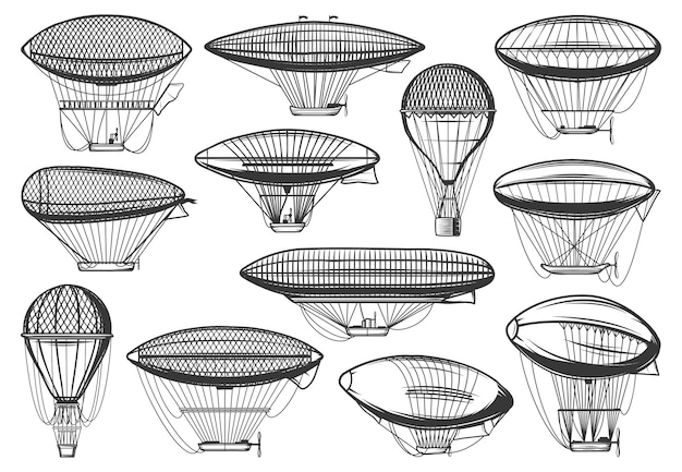 Dirigible airships and air balloon, aeronautics zeppelin aerotstats,  icons. vintage, steampunk dirigible airships and hot air balloons, old retro flight transport, aerostatics travel aircraft