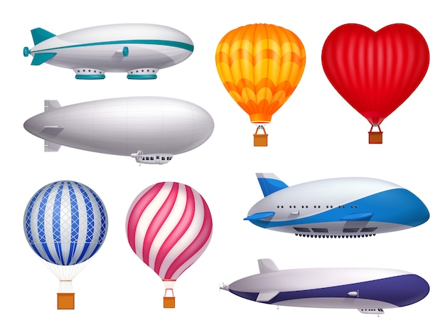 Dirigible and balloons transportation realistic set isolated
