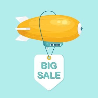 Dirigible flying in blue sky with clouds. vintage airship, zeppelin with sale tag. travel by blimp