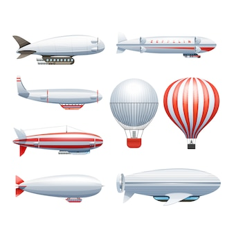 Dirigible and hot air balloons airships