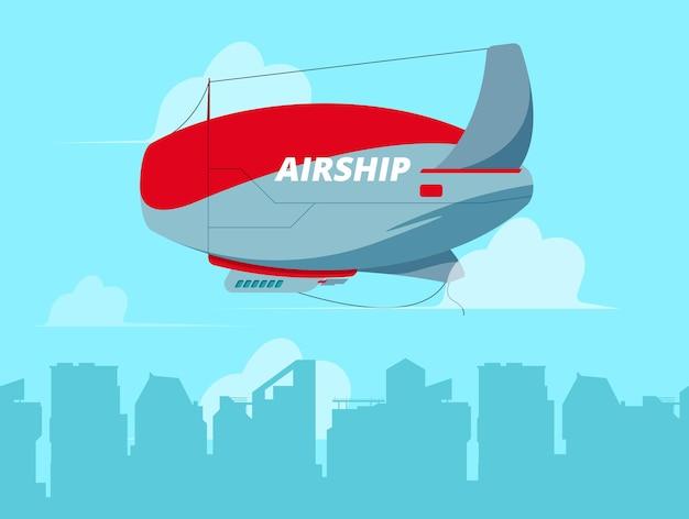 空で飛行船。雲の概念の旅行の背景図で飛行船を飛んでいます。飛行船、輸送旅行飛行船