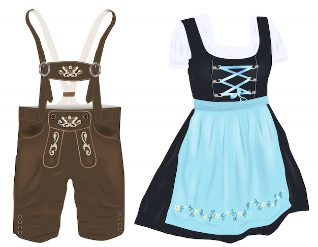 オクトーバーフェストのレザーパンツと伝統的なドレス(dirndl)