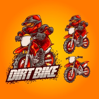 Dirt bike mascot logo illustration on set