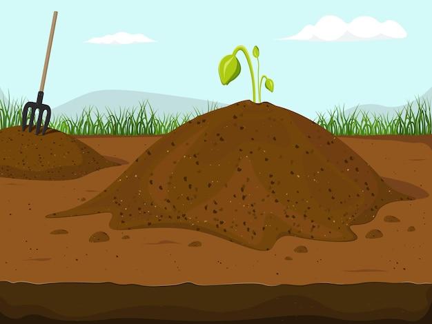 Грязь кучи почвы с растущими ростками цветов растений