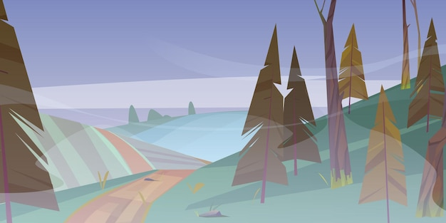 Strada sterrata a foresta nebbiosa tempo noioso paesaggio natura cartone animato con strada che va lungo campo e coni...