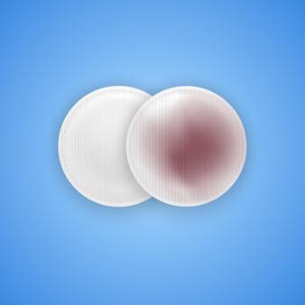 Грязные и чистые ватные диски для очищения макияжа