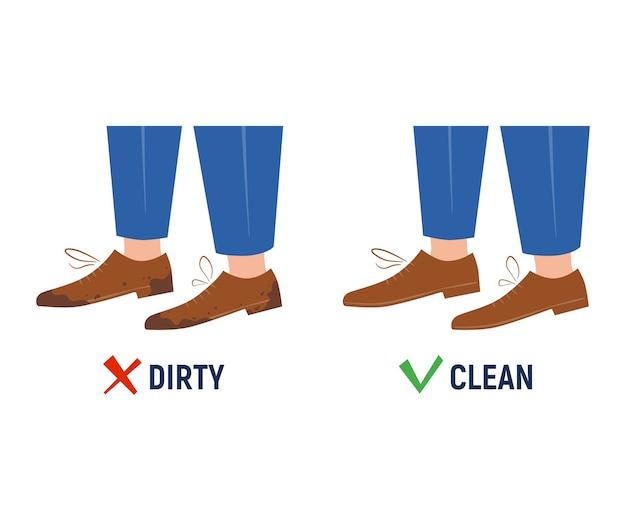 汚れた清潔な靴。前後。白い背景の上の孤立したサイン。フラットと漫画のスタイル