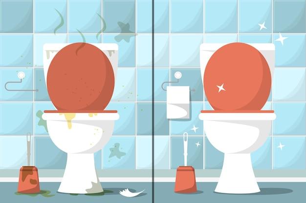 Грязная и чистая туалетная комната.