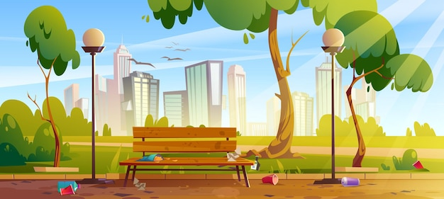 Dirty city park with green trees and grass wooden bench