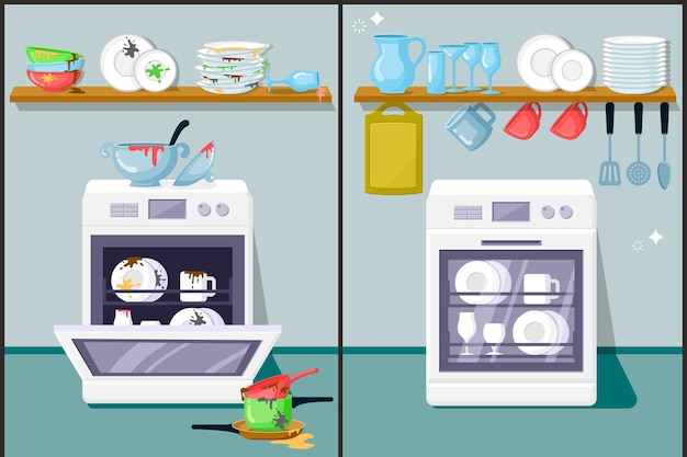 Dirty and clean dishes flat . automatic dishwasher, kitchen equipment. glassware, plates, cooking utensils. washed cookware on shelf. before and after housework