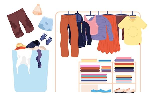 汚れた服。ランドリースタック、洗濯機用バスケットアパレルパイル。孤立したきれいなファッションパンツセータースカートtシャツハンガーベクトルイラスト。衣服とアパレルのスタックとバスケット