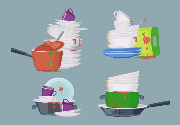 더러운 접시. 포크 스푼 그릇 접시 샐러드 그릇 머그잔 안경을 청소하기위한 주방 레스토랑 항목. 세라믹 접시와 냄비의 그림 더미