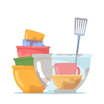 더러운 접시 더미, 컵, 유리 접시 및 세척할 터너가 있는 그릇 또는 접시 스택, 흰색 배경에 격리된 반점, 그릇 또는 주방용품이 있는 비위생적인 기구