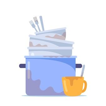 더러운 접시 더미, 흰색 배경에 격리된 반점이 있는 세척할 컵, 비위생적인 기구, 그릇 또는 주방용품이 있는 요리 팬, 그릇 및 어수선한 포크의 스택